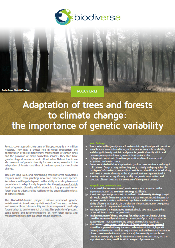 Biodiversa Adaptation Of Trees And Forests To Climate